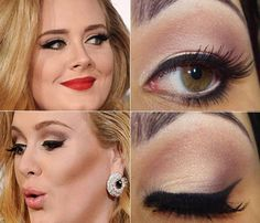 Celebrity makeup inspiration: Adele with her retro glam look Retro Makeup, Love Makeup, Makeup Tips, Makeup Looks, Vintage Makeup, Wedding Hair And Makeup, Bridal Makeup, Hair Makeup, Beauty Make Up