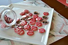 Love these buttons for a gender reveal #genderreveal #babyshower