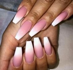 Pink and white ombre acrylic. Beautiful!