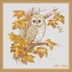 Hey, I found this really awesome Etsy listing at https://www.etsy.com/listing/237682389/autumn-nostalgia-owl-on-the-tree-counted