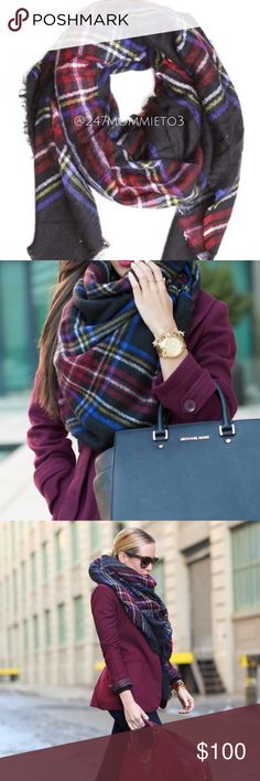 """PREORDER: Wool-blend Tartan Blanket Scarf  PREORDER: New in packaging! Please like this listing to be notified when I receive this scarf!  Made of high-quality soft wool-blend. Weight is approximately 8.21 oz. Please note that these are not the low-quality, smaller blanket scarves that you see at department stores! $22 is a steal! First picture is the actual scarf. Measures approximately 57""""x57"""". PRICE IS FIRM ON BOUTIQUE ITEMS!  ❌No Trades❌ **2nd & 3rd pictures are stock photos of scarf…"""