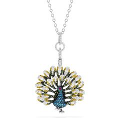 Effy Jewelry Effy Nature 14K White Gold Mix Diamonds and Ruby Peacock... ($9,657) ❤ liked on Polyvore featuring jewelry, pendants, diamond jewelry, pendant jewelry, peacock jewelry, diamond jewellery and 14k pendant