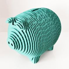 Cardboard Piggy Bank small size by gaBotteShop on Etsy