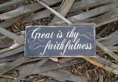 Rustic Vintage Great is Thy Faithfulness Wood by UpcycledBlessings
