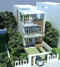 Exterior Morden Architecture house design by pkarchitect 3 Storey House Design, Bungalow House Design, House Front Design, Modern Small House Design, Minimalist House Design, Modern House Plans, Home Building Design, Home Design Plans, Building A House