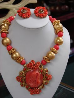 Stanley Hagler Necklace & Earrings~ Huge Carved Coral Cameo