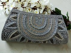 Elegant Gray beaded wallet # Grey Bridal Clutch # Indian wedding bag # Bridal evening party purse # hand beaded art deco - Bridal handbags (*Amazon Partner-Link)