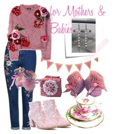 """for Mothers & Babies"" by mariannemerceria ❤ liked on Polyvore featuring Topshop, Dolce&Gabbana, Post-It, Pink, Integrity and babygift"
