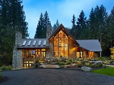 awesome Log Homes Exterior Design Ideas, Pictures, Remodel and Decor Mountain Modern, Mountain Homes, Mountain Style, Mountain House Plans, Mountain Cabins, Mountain Landscape, Mountain View, Style At Home, Log Homes Exterior