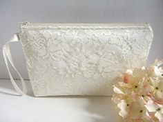 Satin And Lace Clutch - Bridesmaid Makeup Bag - Satin Bridal Clutch - Satin Wristlet Clutch - Bridesmaid Clutch - Ivory Satin Clutch by SewSouthwest on Etsy