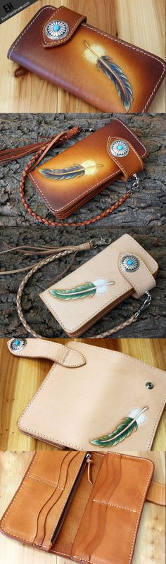 Handmade leather vintage feather biker wallet chain Long wallet clutch | EverHandmade