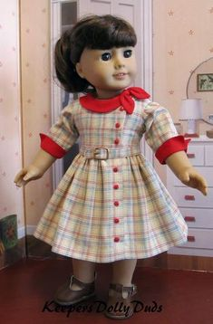 Keepers Dolly Duds Side Collar Dress dress pdf sewing pattern designed to fit 18 inch American Girl dolls American Doll Clothes, Ag Doll Clothes, Doll Clothes Patterns, Clothing Patterns, Dress Clothes, Ag Clothing, Ag Dolls, Girl Dolls, Baby Dress