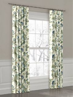 White, Green and Blue Floral Ring Top Drapery Panel curtains -- $$$