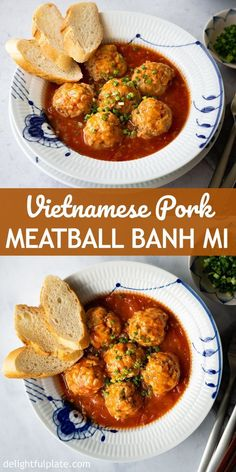 Vietnamese Meatball Banh Mi (Banh Mi Xiu Mai) - Delightful Plate Easy Asian Recipes, Vietnamese Recipes, Vietnamese Pork Meatballs Recipe, Best Dinner Recipes, Potluck Recipes, Pork Recipes, Drink Recipes, Meatball Recipes, Tomato Sauce