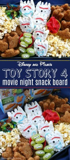 Disney and Pixar's Toy Story 4 Movie Night Snack Board Disney and Pixar's Toy Story 4 Movie Night Snack Board. These movie-themed snacks, complete with Forky Treats and Disney and Pixar's Toy Story 4 Mozzarella Shapes from Farm Rich make Movie Night For Kids, Halloween Movie Night, Movie Night Snacks, Dinner And A Movie, Family Fun Night, Movie Nights, Night Food, Halloween Snacks, Disney Family