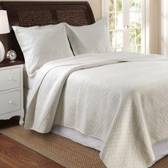 Modern Solid  Ivory Diamond Stitch 100% Cotton Reversible  Quilt Coverlet and Shams Set