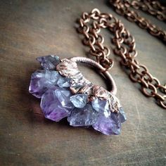 Raw Amethyst Necklace - Electroformed from Copper Drift | JEWELRY, $150