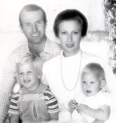 1982: Bouncing blonde baby Zara, which means 'as bright as the dawn', poses with her parents the Princess Royal and Capt Mark Phillips and big brother Peter