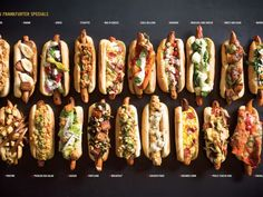 All The World's a Hot Dog Topping Olympic Provisions in Lucky Peach magazine Gourmet Hot Dogs, Food Truck, Hot Dog Wagen, American Hot Dogs, American Flag, Hot Dog Toppings, Lucky Peach, Burger Dogs, Hot Dog Cart