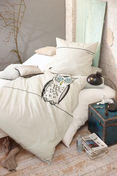 Nachteule: Bettwäsche mit Eulendruck.