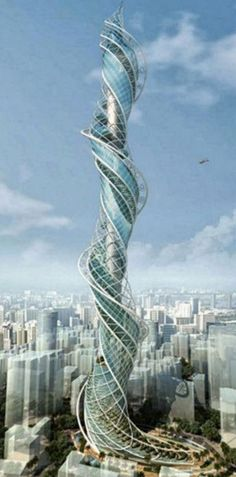 #Wadala #Tower #India - A vertical #urban #forest is created by the twisting terraces with massive amount of #vegetation which could reduce emissions. Wind turbines are installed on every 5th floor which generate #renewable #energy.