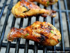 Grilled Beer Marinated Chicken: Drumsticks in olive oil, onion salt, paprika, cumin, cayenne, pepper, garlic, lime juice, beer, salt and fresh parsley.