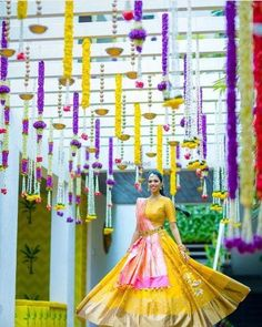 Looking for Kanjivaram lehenga in yellow and pink with waistbelt? Browse of latest bridal photos, lehenga & jewelry designs, decor ideas, etc. on WedMeGood Gallery. Half Saree Function, Lehenga Jewellery, Gold Jewellery, Half Saree Designs, Lehenga Designs, Mehndi Designs, Indian Wedding Decorations, Backdrop Decorations, Indian Weddings