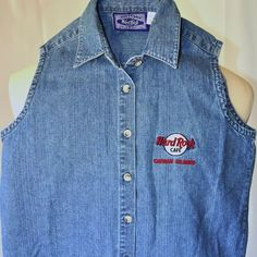 Hard Rock Cafe Cayman Islands Small Women's Denim Blouse Sleeveless Embroidered