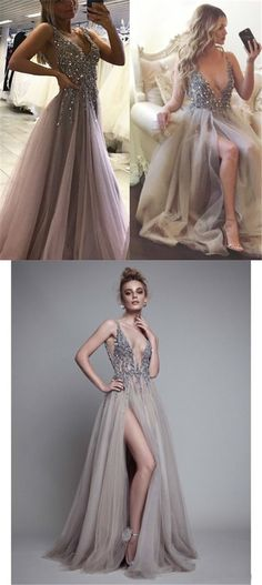 Unique Deep V-neck rhinestone Beaded prom Dresses, Light Grey Side Slit Tulle Prom Dresses, PD190485
