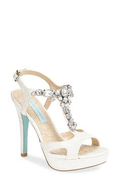 "Wedding Shoes Blue by Betsey Johnson 'Luxe' Platform Sandal. Faceted crystals sparkle atop a glamorous T-strap sandal finished with a signature ""something blue"" sole."