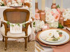 WEDDING, OTHER ~~ Rose Gold Wedding Ideas -- Pretty hand written chair label: Mrs @Maria Dimitriadi Gras Outlet