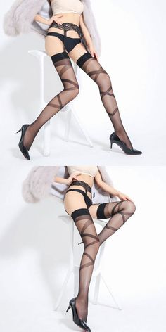 Sexy Perspective Stockings Over Knee Socks Garter Cross Jacquard Women Lingerie #sexy #stocking #lingerie Lingerie Sleepwear, Lingerie Set, Women Lingerie, Open Cup Bras, Over Knee Socks, Maid Uniform, Silk Stockings, Black Mesh, Underwear