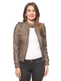 "USUAL WAY - Lederjacke ""Oli"" in Taupe 