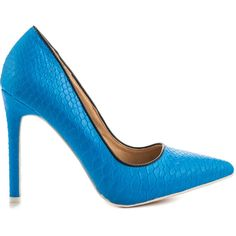 Liliana Women's Heat Wave - Blue ($50) ❤ liked on Polyvore featuring shoes, pumps, blue, blue shoes, pointed toe high heels stilettos, blue pumps, blue high heel pumps and snake pumps