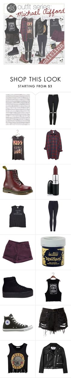 """""""5sos outfit series: Michael Clifford"""" by the-amazing-tip-chickas ❤ liked on Polyvore featuring Milton & King, Topshop, Pull&Bear, Monki, Dr. Martens, Suck, CO, Jeffrey Campbell, Converse and Acne Studios"""