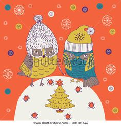 stock vector : Christmas background with cute owls