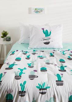 image of Full - Cactus Comforter Set Cute Bedroom Ideas, Girl Bedroom Designs, Girls Bedroom, Bedroom Decor, Bedrooms, Dream Rooms, Dream Bedroom, My New Room, My Room