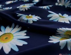 Silky Satin Large Daisy Navy Floral Fabric. Great for: Blouses, dresses, lingerie, pyjamas, kaftans and much more … WeaverDee.com