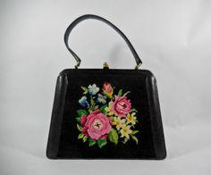 French Vintage black handbag bag 1950's by VintagetoFrance on Etsy