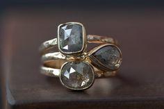 Custom Natural Rose-Cut Silver-Grey  Diamond Engagement par LexLuxe