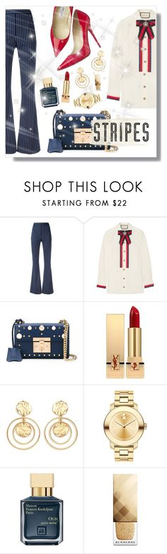 """""""Strong Stripes: Graphic Striped Pants"""" by plnzh ❤ liked on Polyvore featuring Pierre Balmain, Gucci, Jimmy Choo, Yves Saint Laurent, Kenneth Jay Lane, Movado, Maison Francis Kurkdjian, Lands' End and Burberry"""