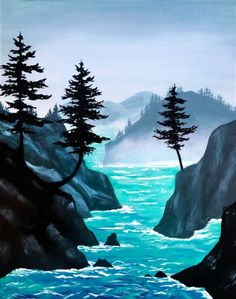 Check out Misty Cove at The Hat Resto Pub - Paint Nite Landscape Art, Landscape Paintings, Painting Inspiration, Art Inspo, Beginner Painting, Your Paintings, Painting & Drawing, Art Drawings, Art Projects