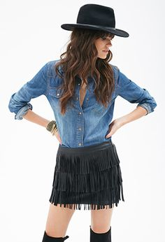 Faux Leather Fringe Skirt   FOREVER21 - 2000116931. march 2015