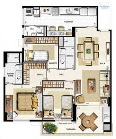 projeto apartamento 90m2 - Pesquisa Google House Floor Plans, Tiny House, Sweet Home, Exterior, House Design, Flooring, How To Plan, Architecture, Home Decor