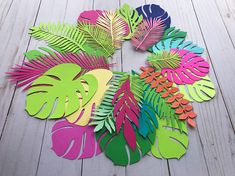 This listing is for mix of paper leaves in your size and color Please choose a color for leaves and size You will receive up to 9 different styles of leaves in your color scheme This is pack of 20 assorted leaves Perfect for tropical, dinosaurs or Moana party SOCIAL MEDIA FOLLOW
