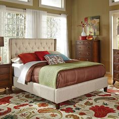 Coaster Queen Upholstered Bed with Button Tufting, Tan - Walmart.com