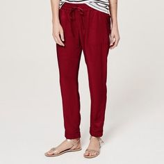 NWT LOFT Red Jogger Pants NWT LOFT Red Jogger Pants. Love love love these pants they just don't look good on me . Super cute and comfortable!  Open to offers! LOFT Pants Track Pants & Joggers