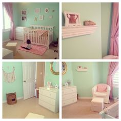 Mint Green, Pink and Gold Baby Girl Nursery.