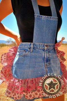 redneck apron --My friend Mary got a blue ribbon at the county fair for one of these; it was SOOOO cute!