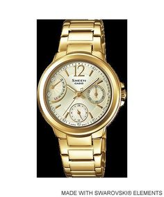 She-3804Gd-9A Casio Sheen Lady Dress Watches Stainless Steel Band Box